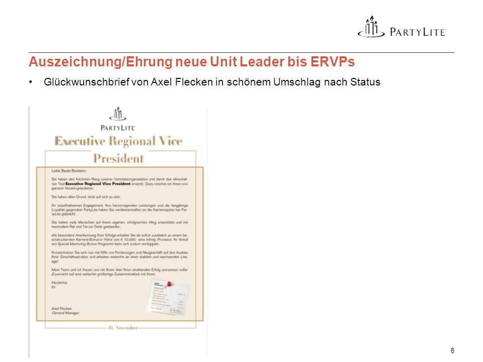 Glückwunschbrief von Axel Flecken in schönem Umschlag nach Status 3 April, 20158 Auszeichnung/Ehrung neue Unit Leader bis ERVPs