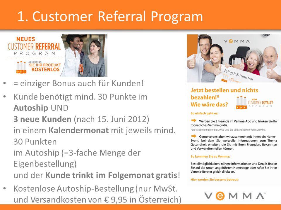 1. Customer Referral Program = einziger Bonus auch für Kunden! Kunde benötigt mind. 30 Punkte im Autoship UND 3 neue Kunden (nach 15. Juni 2012) in ei