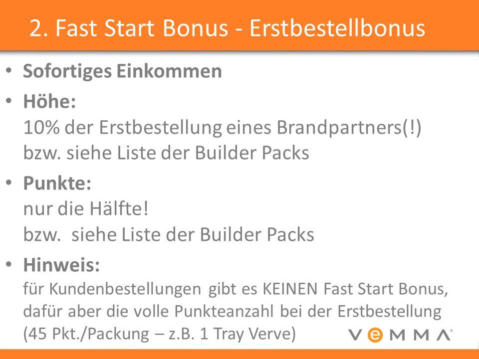 2. Fast Start Bonus - Erstbestellbonus Sofortiges Einkommen Höhe: 10% der Erstbestellung eines Brandpartners(!) bzw. siehe Liste der Builder Packs Pun