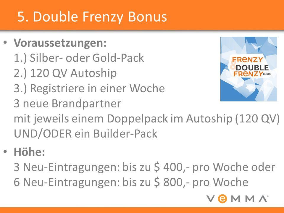 5. Double Frenzy Bonus Voraussetzungen: 1.) Silber- oder Gold-Pack 2.) 120 QV Autoship 3.) Registriere in einer Woche 3 neue Brandpartner mit jeweils