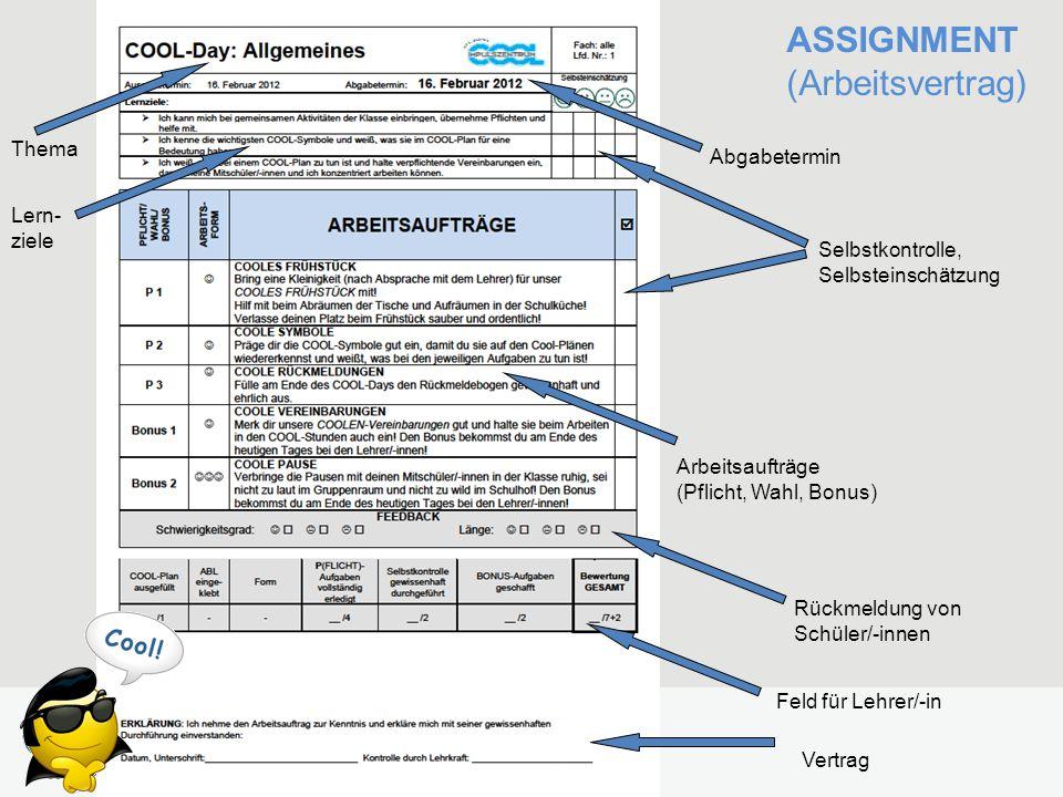 ASSIGNMENT (Arbeitsvertrag) Abgabetermin Rückmeldung von Schüler/-innen Feld für Lehrer/-in Vertrag Arbeitsaufträge (Pflicht, Wahl, Bonus) Selbstkontrolle, Selbsteinschätzung Thema Lern- ziele