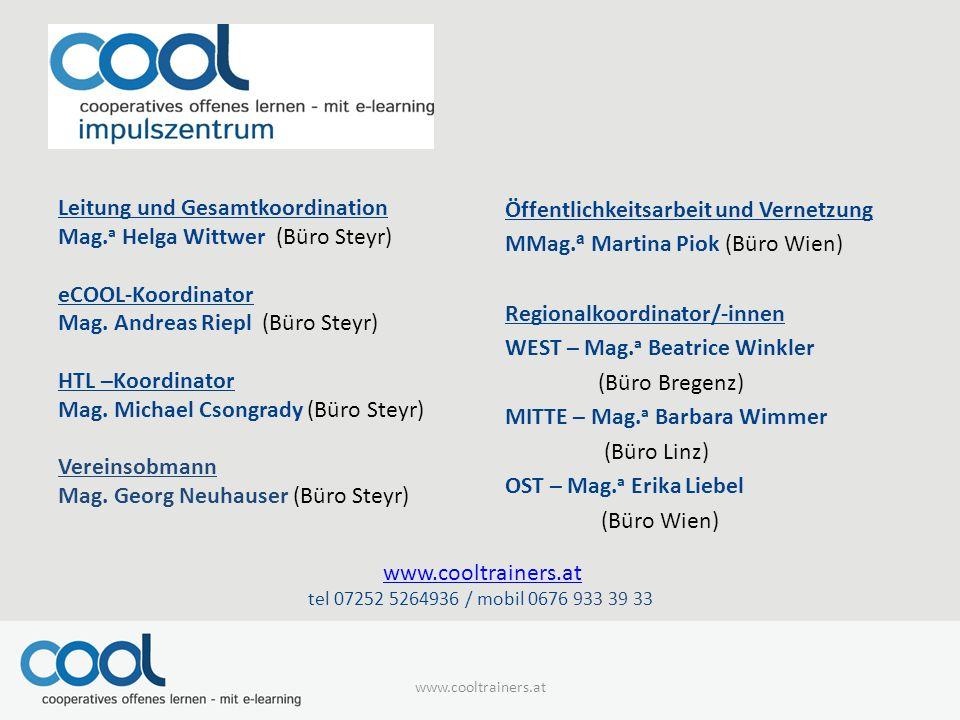 www.cooltrainers.at Leitung und Gesamtkoordination Mag.