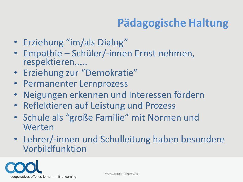 Pädagogische Haltung Erziehung im/als Dialog Empathie – Schüler/-innen Ernst nehmen, respektieren.....