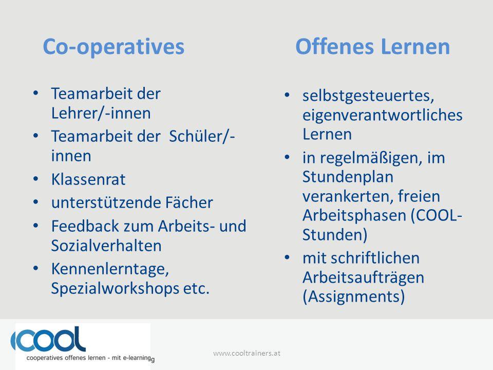 Co-operatives Offenes Lernen Teamarbeit der Lehrer/-innen Teamarbeit der Schüler/- innen Klassenrat unterstützende Fächer Feedback zum Arbeits- und Sozialverhalten Kennenlerntage, Spezialworkshops etc.
