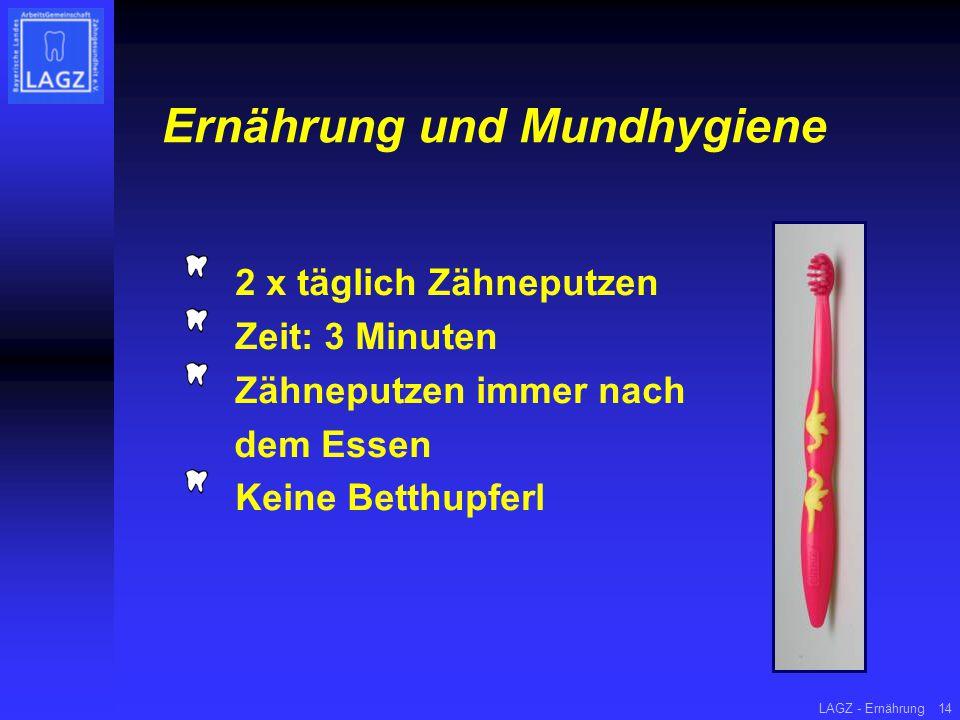 LAGZ - Ernährung14 Ernährung und Mundhygiene 2 x täglich Zähneputzen Zeit: 3 Minuten Zähneputzen immer nach dem Essen Keine Betthupferl