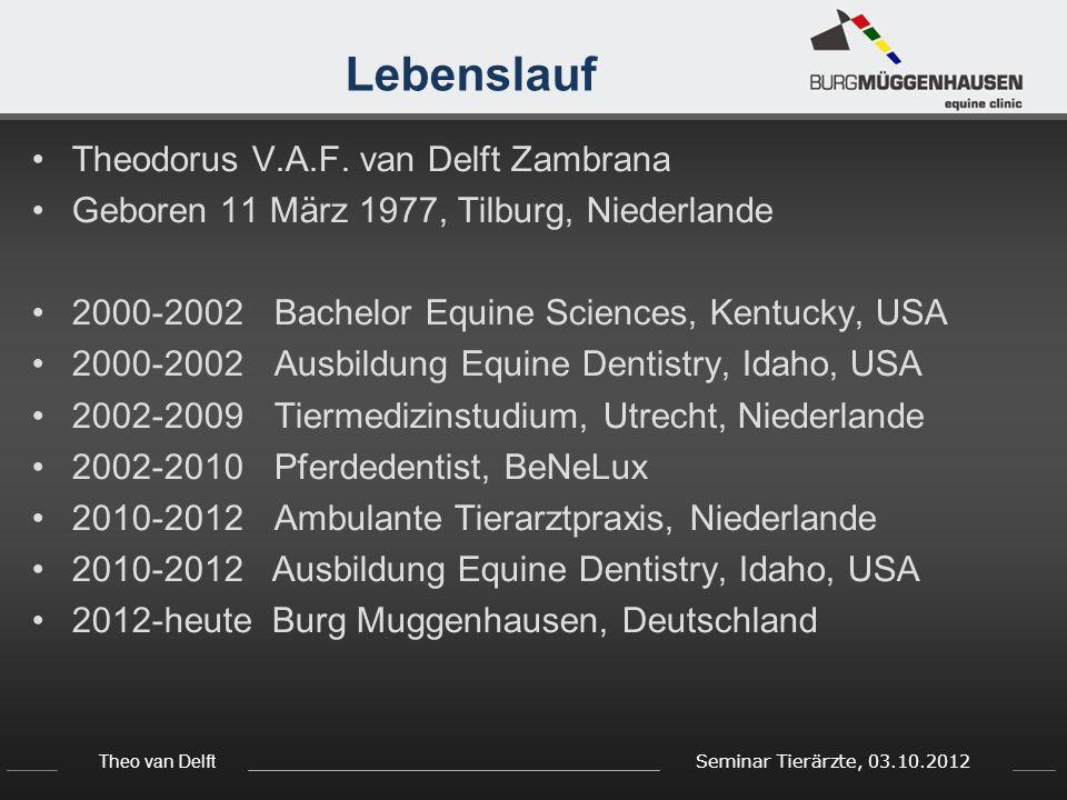 Theo van Delft Seminar Tierärzte, 03.10.2012 Lebenslauf Theodorus V.A.F. van Delft Zambrana Geboren 11 März 1977, Tilburg, Niederlande 2000-2002 Bache