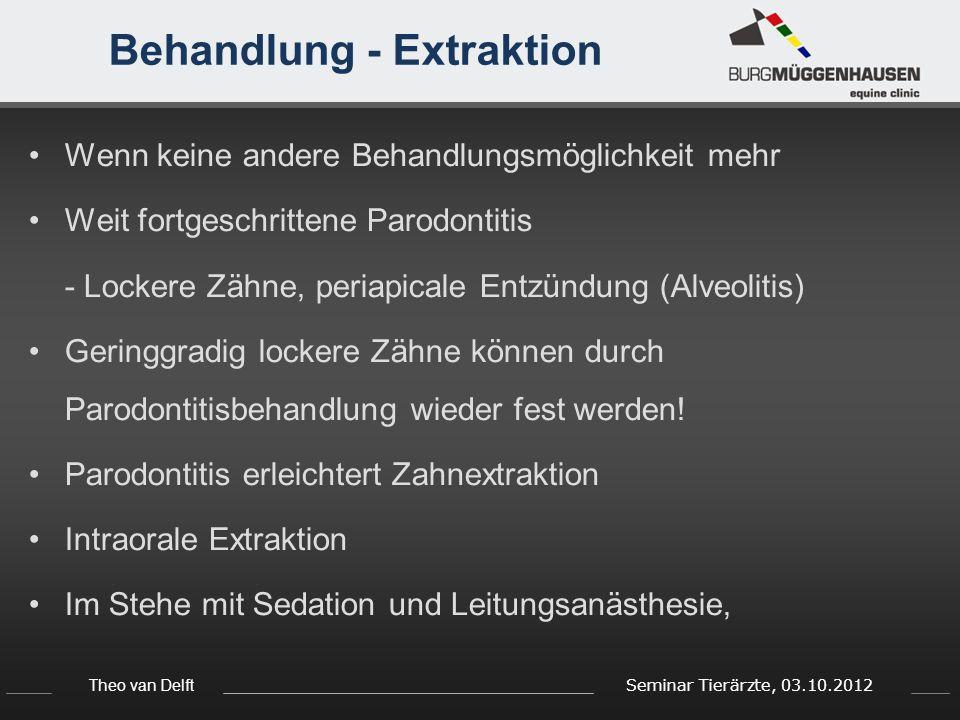 Theo van Delft Seminar Tierärzte, 03.10.2012 Behandlung - Extraktion Wenn keine andere Behandlungsmöglichkeit mehr Weit fortgeschrittene Parodontitis