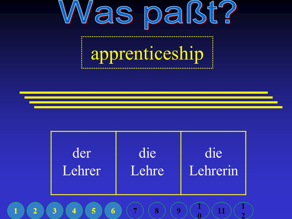 Which is NOT the future tense? ich werde ich will ich möchte 12345611789 1010 1212