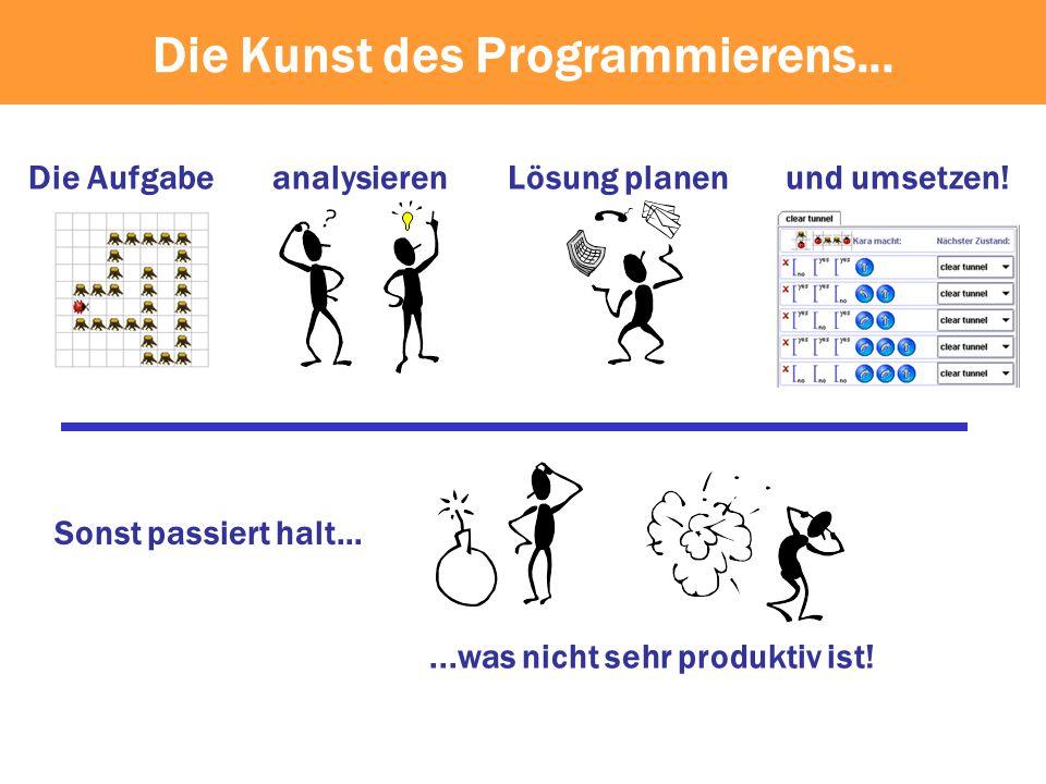 Lösung planenanalysieren Sonst passiert halt......was nicht sehr produktiv ist! Die Aufgabeund umsetzen! Die Kunst des Programmierens...