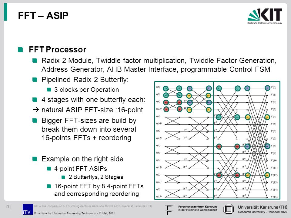FFT – ASIP FFT Processor Radix 2 Module, Twiddle factor multiplication, Twiddle Factor Generation, Address Generator, AHB Master Interface, programmable Control FSM Pipelined Radix 2 Butterfly: 3 clocks per Operation 4 stages with one butterfly each:  natural ASIP FFT-size :16-point Bigger FFT-sizes are build by break them down into several 16-points FFTs + reordering Example on the right side 4-point FFT ASIPs 2 Butterflys, 2 Stages 16-point FFT by 8 4-point FFTs and corresponding reordering KIT – The cooperation of Forschungszentrum Karlsruhe GmbH and Universität Karlsruhe (TH) 13 | © Institute for Information Processing Technology - 11 Mai, 2011