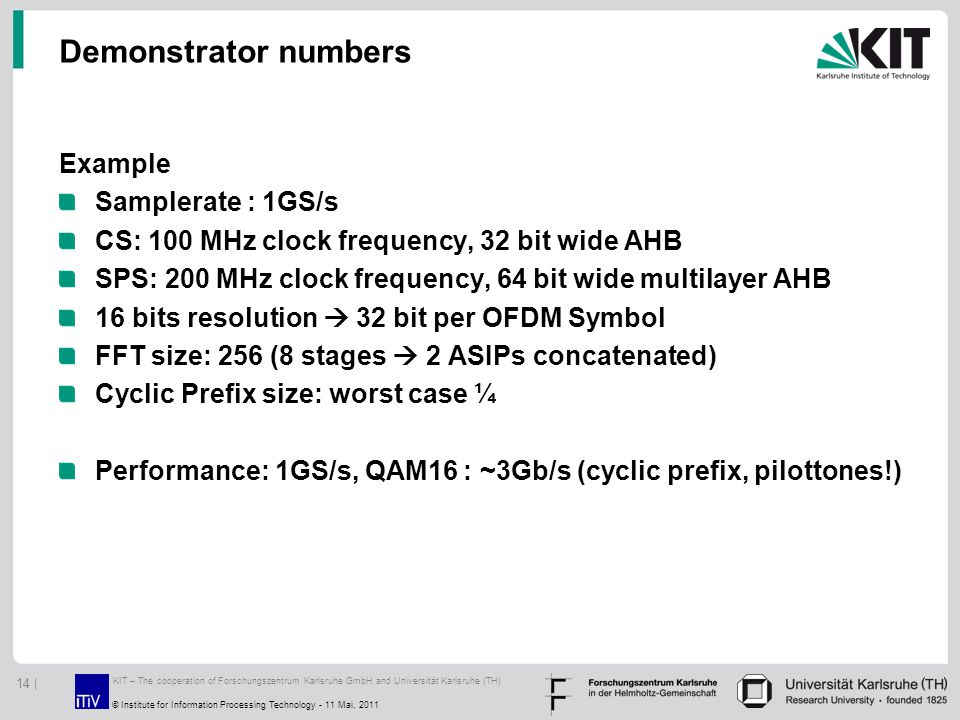 Demonstrator numbers Example Samplerate : 1GS/s CS: 100 MHz clock frequency, 32 bit wide AHB SPS: 200 MHz clock frequency, 64 bit wide multilayer AHB 16 bits resolution  32 bit per OFDM Symbol FFT size: 256 (8 stages  2 ASIPs concatenated) Cyclic Prefix size: worst case ¼ Performance: 1GS/s, QAM16 : ~3Gb/s (cyclic prefix, pilottones!) KIT – The cooperation of Forschungszentrum Karlsruhe GmbH and Universität Karlsruhe (TH) 14 | © Institute for Information Processing Technology - 11 Mai, 2011