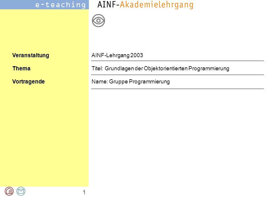 1 VeranstaltungThemaVortragende AINF-Lehrgang 2003 Titel: Grundlagen der Objektorientierten Programmierung Name: Gruppe Programmierung