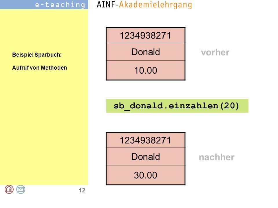 12 1234938271 Donald 10.00 1234938271 Donald 30.00 sb_donald.einzahlen(20) nachher vorher Beispiel Sparbuch: Aufruf von Methoden