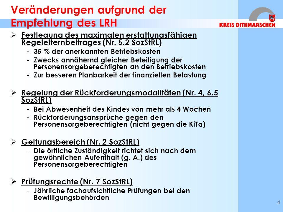 4 Veränderungen aufgrund der Empfehlung des LRH  Festlegung des maximalen erstattungsfähigen Regelelternbeitrages (Nr. 5.2 SozStRL) - 35 % der anerka