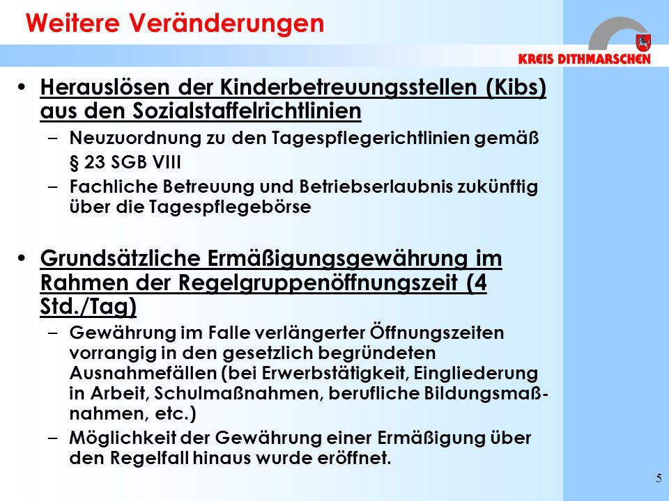 5 Weitere Veränderungen Herauslösen der Kinderbetreuungsstellen (Kibs) aus den Sozialstaffelrichtlinien – Neuzuordnung zu den Tagespflegerichtlinien gemäß § 23 SGB VIII – Fachliche Betreuung und Betriebserlaubnis zukünftig über die Tagespflegebörse Grundsätzliche Ermäßigungsgewährung im Rahmen der Regelgruppenöffnungszeit (4 Std./Tag) – Gewährung im Falle verlängerter Öffnungszeiten vorrangig in den gesetzlich begründeten Ausnahmefällen (bei Erwerbstätigkeit, Eingliederung in Arbeit, Schulmaßnahmen, berufliche Bildungsmaß- nahmen, etc.) – Möglichkeit der Gewährung einer Ermäßigung über den Regelfall hinaus wurde eröffnet.