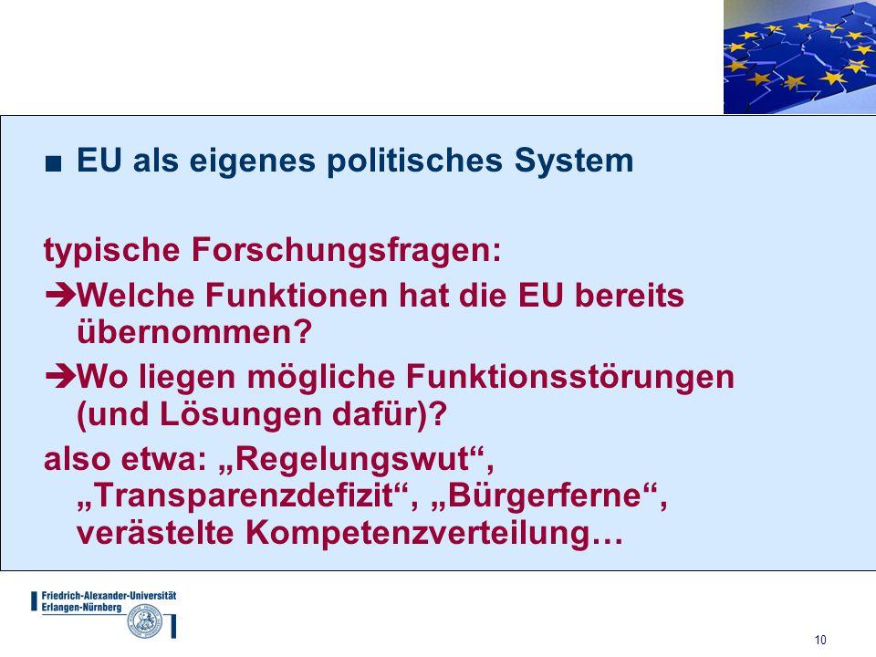 10 ■EU als eigenes politisches System typische Forschungsfragen:  Welche Funktionen hat die EU bereits übernommen?  Wo liegen mögliche Funktionsstör
