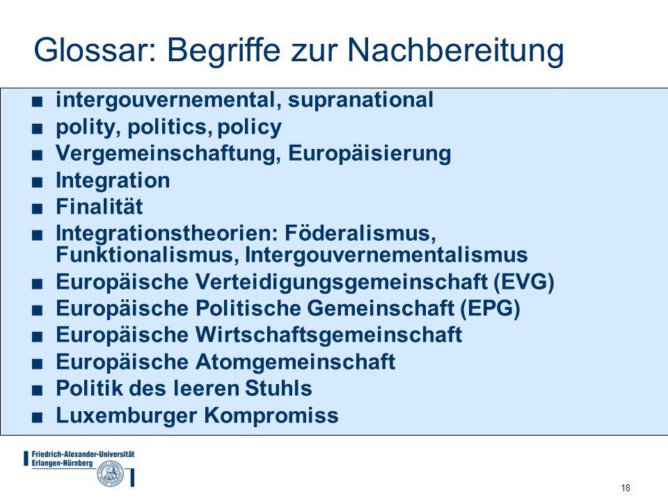 18 Glossar: Begriffe zur Nachbereitung ■intergouvernemental, supranational ■polity, politics, policy ■Vergemeinschaftung, Europäisierung ■Integration