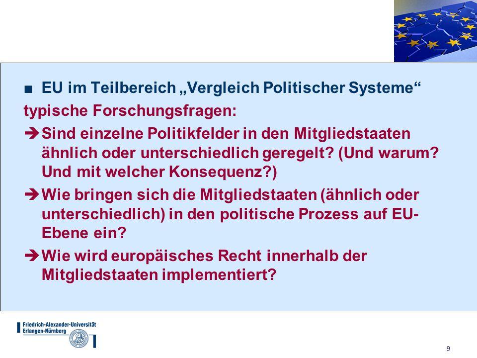 """9 ■EU im Teilbereich """"Vergleich Politischer Systeme"""" typische Forschungsfragen:  Sind einzelne Politikfelder in den Mitgliedstaaten ähnlich oder unte"""