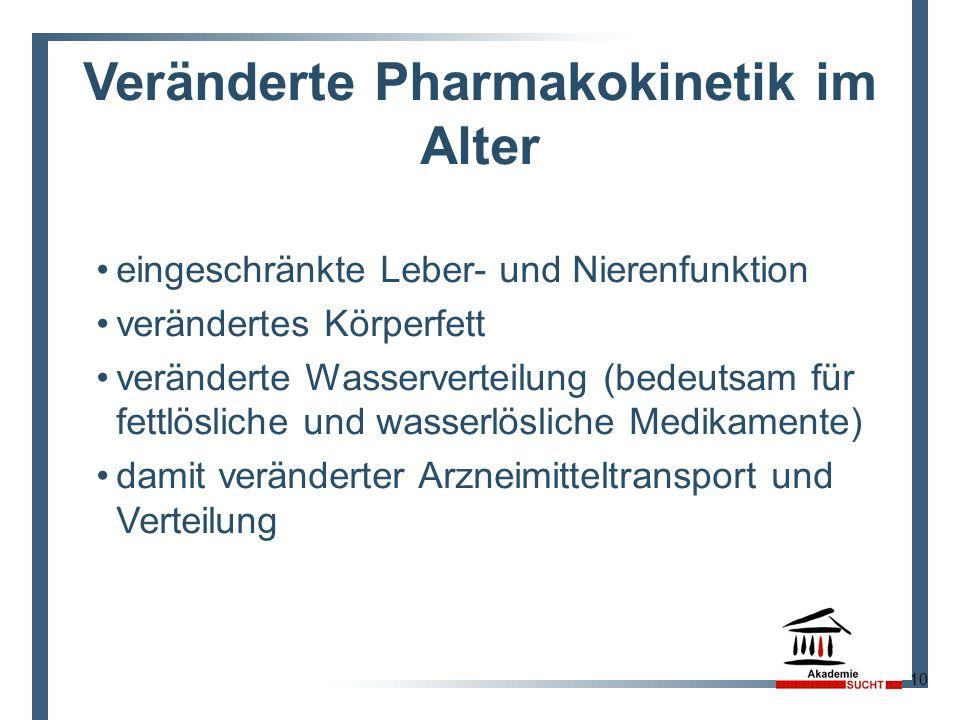 Veränderte Pharmakokinetik im Alter eingeschränkte Leber- und Nierenfunktion verändertes Körperfett veränderte Wasserverteilung (bedeutsam für fettlös