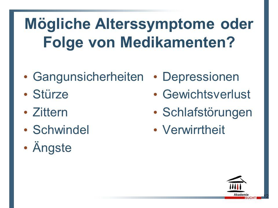 Mögliche Alterssymptome oder Folge von Medikamenten? Gangunsicherheiten Stürze Zittern Schwindel Ängste Depressionen Gewichtsverlust Schlafstörungen V