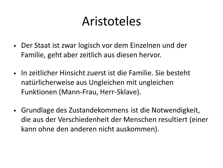 Aristoteles Der Staat ist zwar logisch vor dem Einzelnen und der Familie, geht aber zeitlich aus diesen hervor. In zeitlicher Hinsicht zuerst ist die