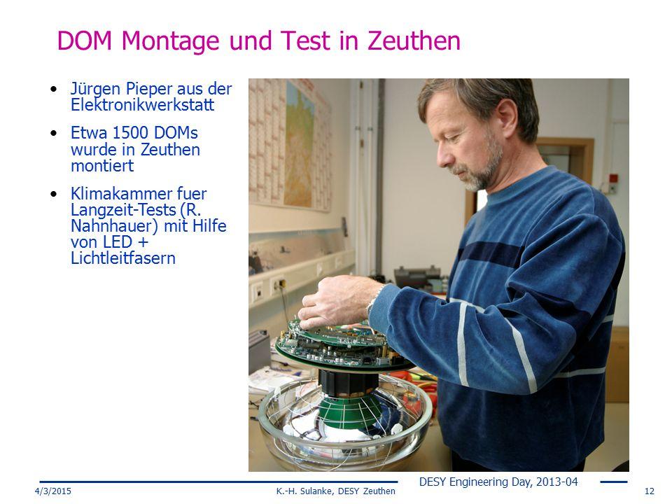 DESY Engineering Day, 2013-04 4/3/2015K.-H. Sulanke, DESY Zeuthen12 DOM Montage und Test in Zeuthen Jürgen Pieper aus der Elektronikwerkstatt Etwa 150