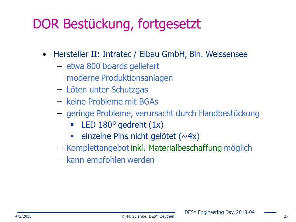 DESY Engineering Day, 2013-04 4/3/2015K.-H. Sulanke, DESY Zeuthen27 DOR Bestückung, fortgesetzt Hersteller II: Intratec / Elbau GmbH, Bln. Weissensee