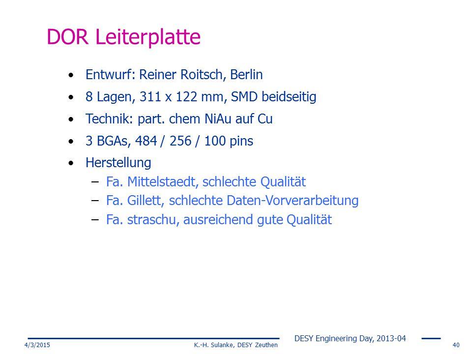 DESY Engineering Day, 2013-04 4/3/2015K.-H. Sulanke, DESY Zeuthen40 DOR Leiterplatte Entwurf: Reiner Roitsch, Berlin 8 Lagen, 311 x 122 mm, SMD beidse