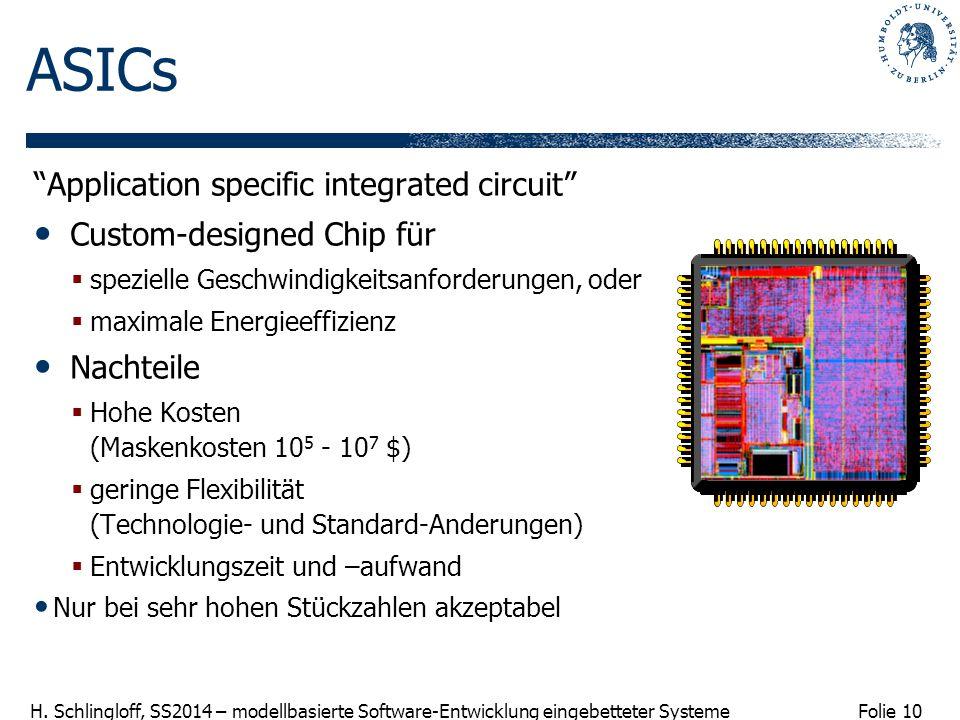 "Folie 10 H. Schlingloff, SS2014 – modellbasierte Software-Entwicklung eingebetteter Systeme ""Application specific integrated circuit"" Custom-designed"