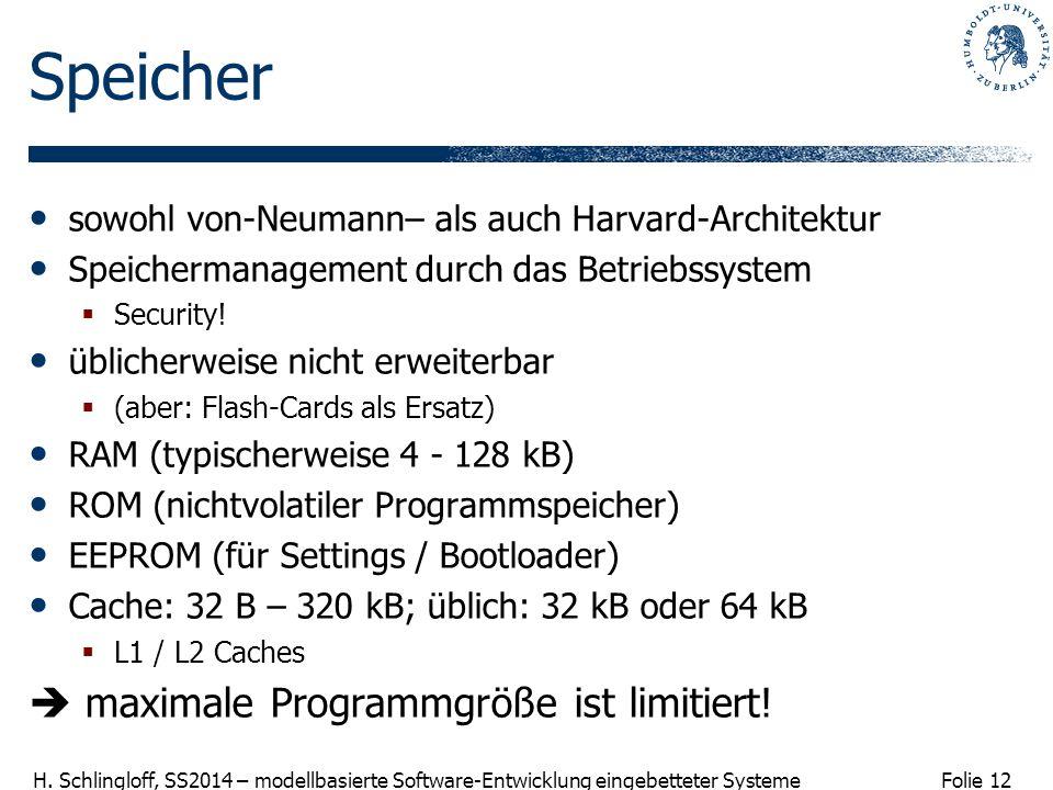 Folie 12 H. Schlingloff, SS2014 – modellbasierte Software-Entwicklung eingebetteter Systeme Speicher sowohl von-Neumann– als auch Harvard-Architektur