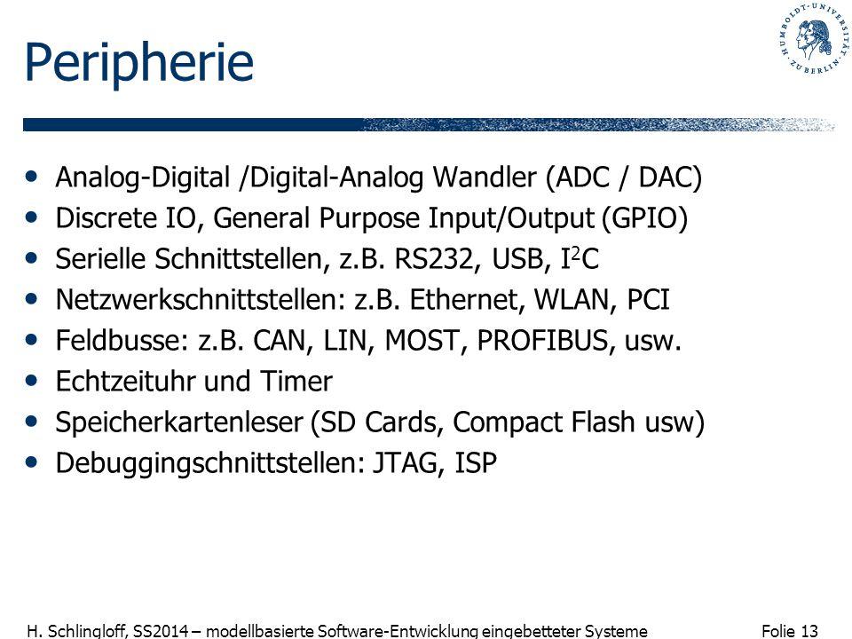 Folie 13 H. Schlingloff, SS2014 – modellbasierte Software-Entwicklung eingebetteter Systeme Peripherie Analog-Digital /Digital-Analog Wandler (ADC / D