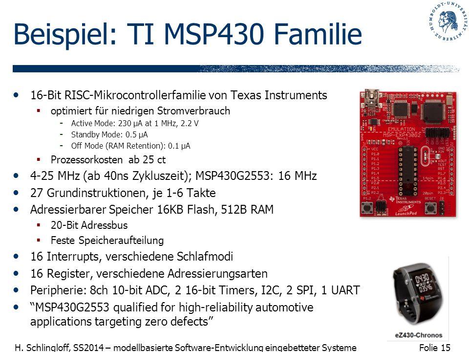 Folie 15 H. Schlingloff, SS2014 – modellbasierte Software-Entwicklung eingebetteter Systeme Beispiel: TI MSP430 Familie 16-Bit RISC-Mikrocontrollerfam