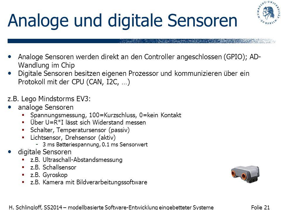 Folie 21 H. Schlingloff, SS2014 – modellbasierte Software-Entwicklung eingebetteter Systeme Analoge und digitale Sensoren Analoge Sensoren werden dire