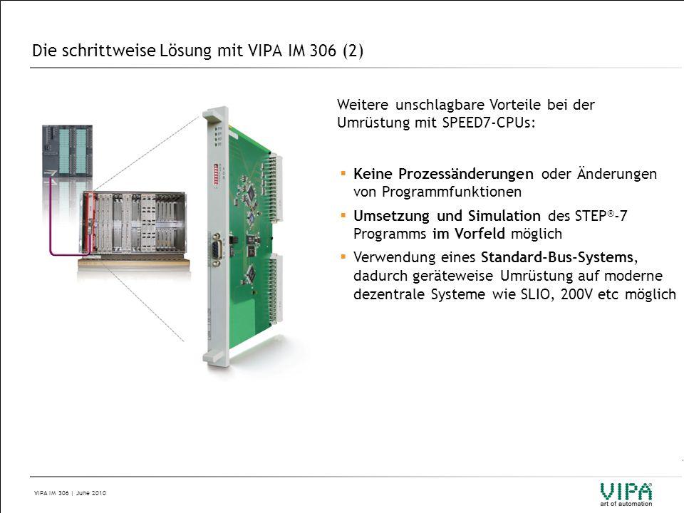 VIPA IM 306 | June 2010 Die schrittweise Lösung mit VIPA IM 306 (2) Weitere unschlagbare Vorteile bei der Umrüstung mit SPEED7-CPUs:  Keine Prozessän