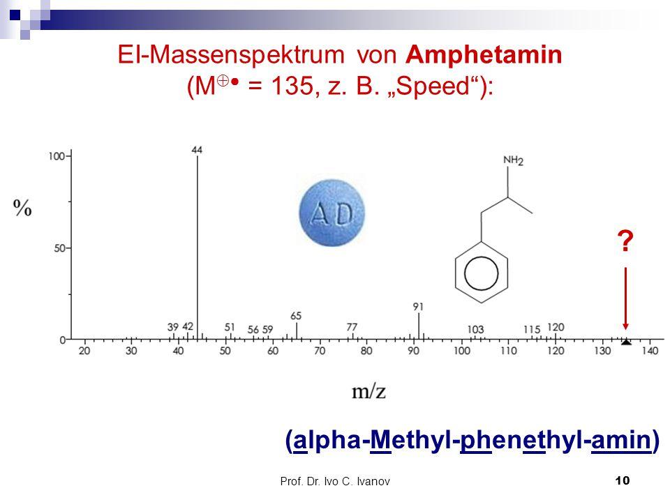 "Prof. Dr. Ivo C. Ivanov10 EI-Massenspektrum von Amphetamin (M  ● = 135, z. B. ""Speed""): (alpha-Methyl-phenethyl-amin) ?"