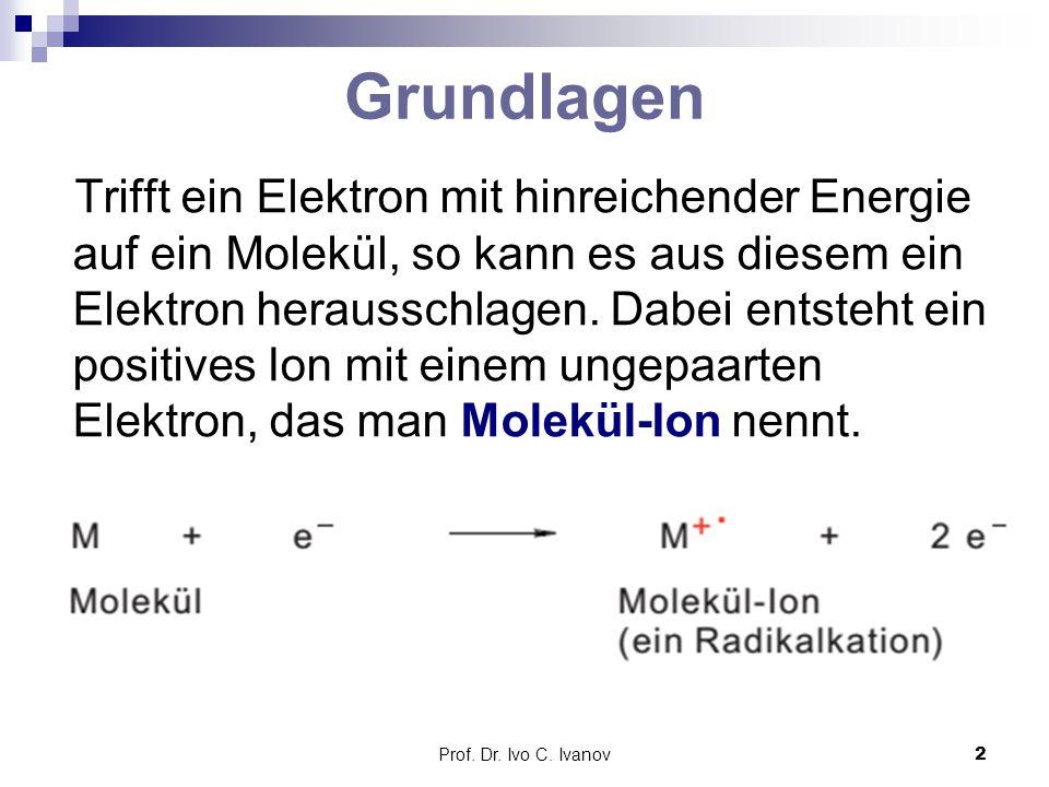 Prof. Dr. Ivo C. Ivanov2 Grundlagen Trifft ein Elektron mit hinreichender Energie auf ein Molekül, so kann es aus diesem ein Elektron herausschlagen.