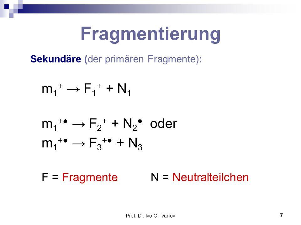 Prof. Dr. Ivo C. Ivanov7 Fragmentierung Sekundäre (der primären Fragmente): m 1 + → F 1 + + N 1 m 1 +● → F 2 + + N 2 ● oder m 1 +● → F 3 +● + N 3 F =