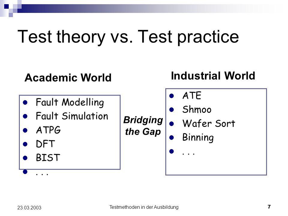 Testmethoden in der Ausbildung7 23.03.2003 l Fault Modelling l Fault Simulation l ATPG l DFT l BIST l...