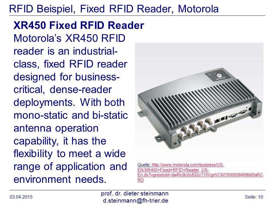 RFID Beispiel, Fixed RFID Reader, Motorola 03.04.2015 prof.