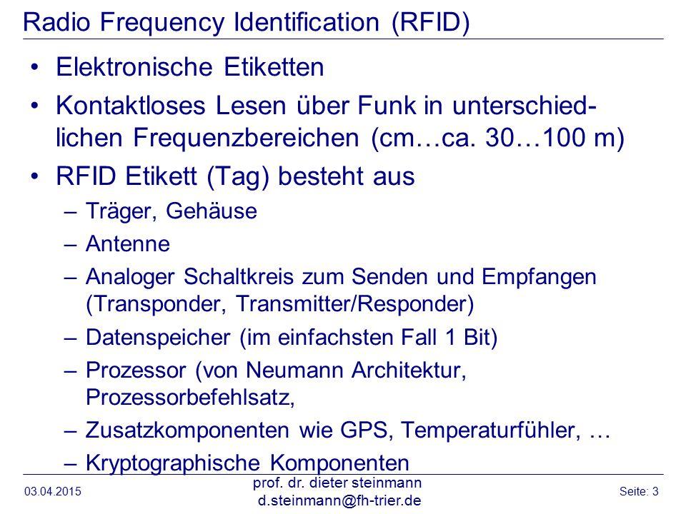 Radio Frequency Identification (RFID) Elektronische Etiketten Kontaktloses Lesen über Funk in unterschied- lichen Frequenzbereichen (cm…ca.