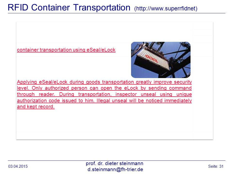 RFID Container Transportation (http://www.superrfidnet) 03.04.2015 prof.