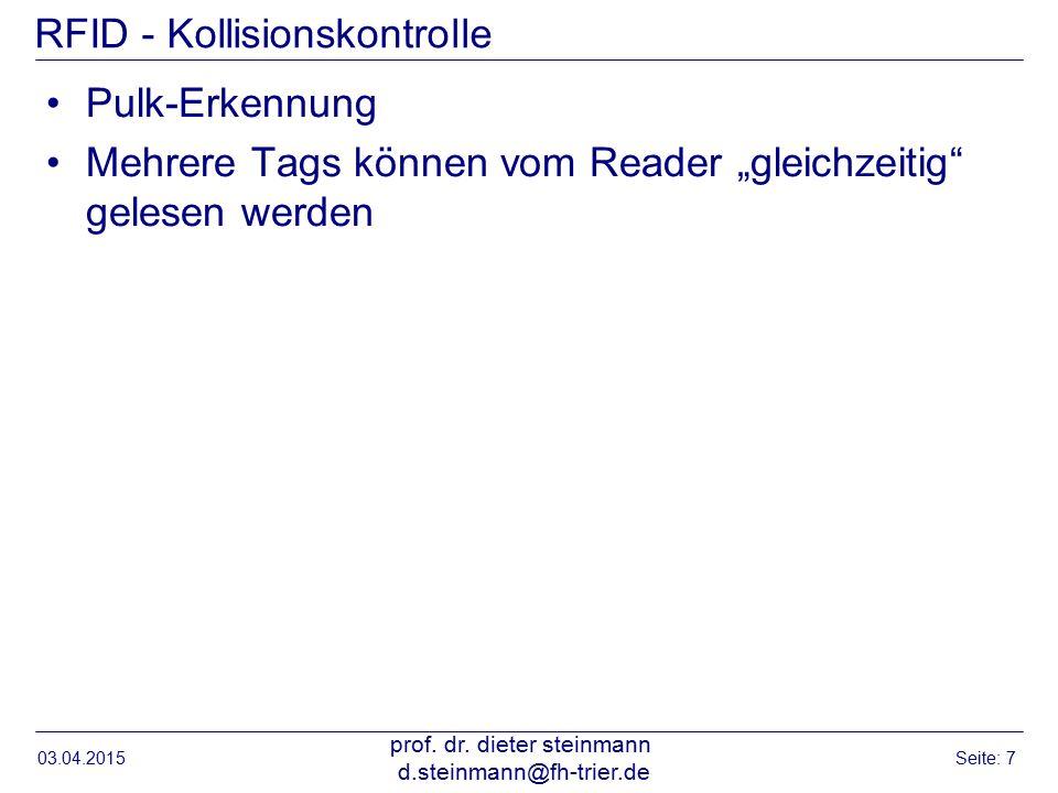 """RFID - Kollisionskontrolle Pulk-Erkennung Mehrere Tags können vom Reader """"gleichzeitig gelesen werden 03.04.2015 prof."""