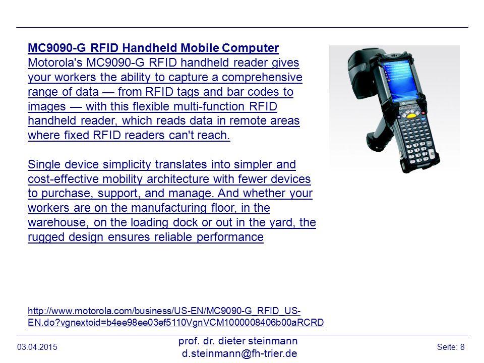 RFID Beispiele, GAO 03.04.2015 prof. dr. dieter steinmann d.steinmann@fh-trier.de Seite: 19