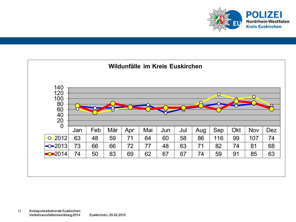 12Kreispolizeibehörde Euskirchen Verkehrsunfallentwicklung 2014 Euskirchen, 09.02.2015