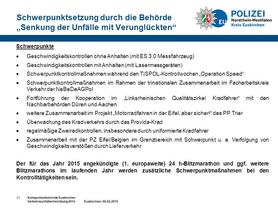 """Schwerpunktsetzung durch die Behörde """"Senkung der Unfälle mit Verunglückten"""" 41Kreispolizeibehörde Euskirchen Verkehrsunfallentwicklung 2014 Euskirche"""
