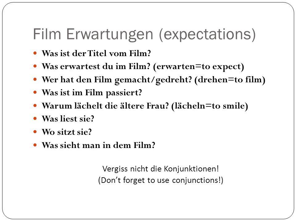 Film Erwartungen (expectations) Was ist der Titel vom Film.
