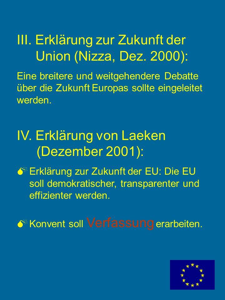 Meilensteine auf dem Weg zur Verfassung I. Gründungsverträge: Montanunion 1951 (ausgelaufen 2002) Römische Verträge 1957 EU-Vertrag 1992 + Charta der