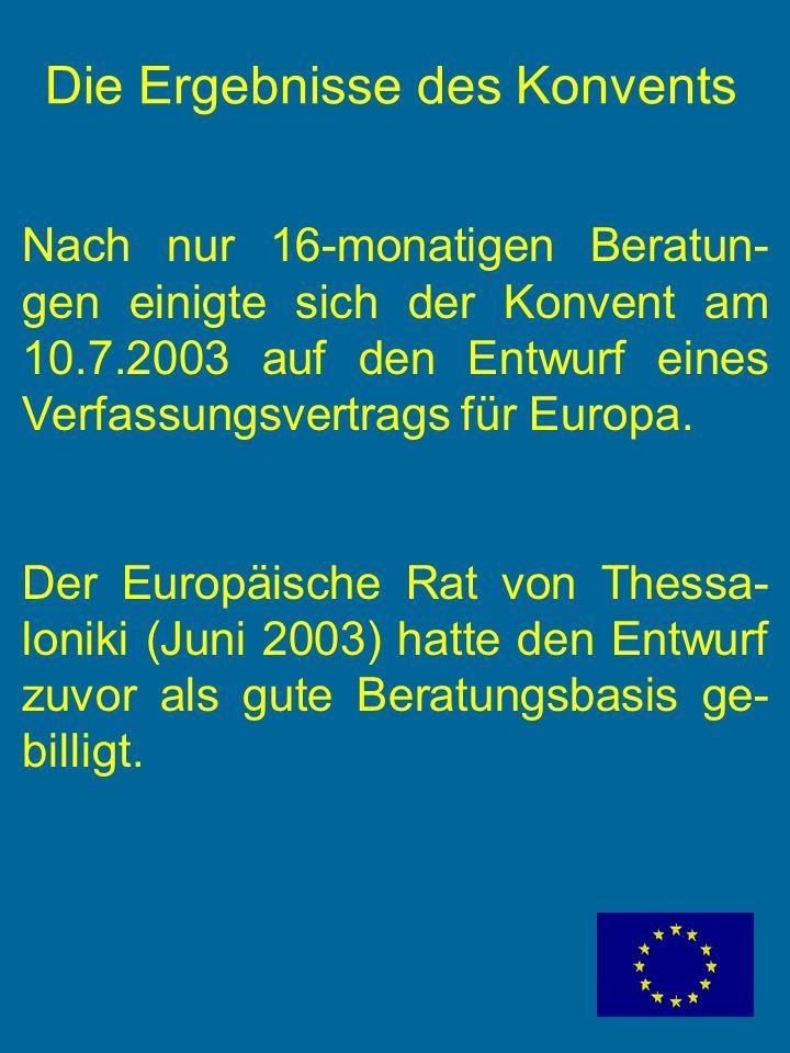 Die Ergebnisse des Konvents Nach nur 16-monatigen Beratun- gen einigte sich der Konvent am 10.7.2003 auf den Entwurf eines Verfassungsvertrags für Europa.