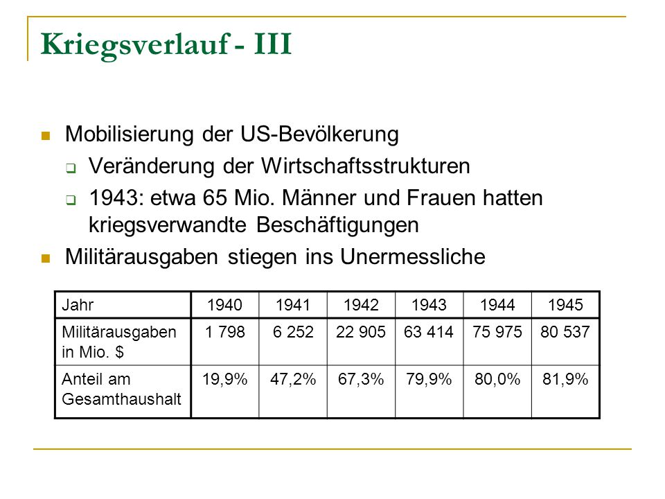Kriegsverlauf - III Mobilisierung der US-Bevölkerung  Veränderung der Wirtschaftsstrukturen  1943: etwa 65 Mio.