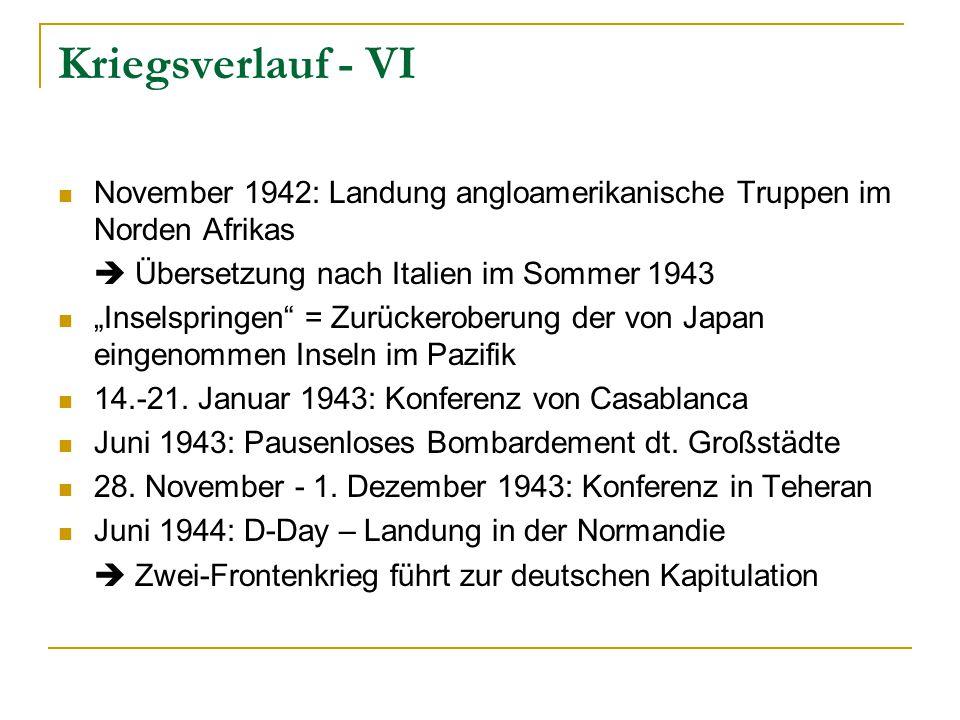 """Kriegsverlauf - VI November 1942: Landung angloamerikanische Truppen im Norden Afrikas  Übersetzung nach Italien im Sommer 1943 """"Inselspringen = Zurückeroberung der von Japan eingenommen Inseln im Pazifik 14.-21."""